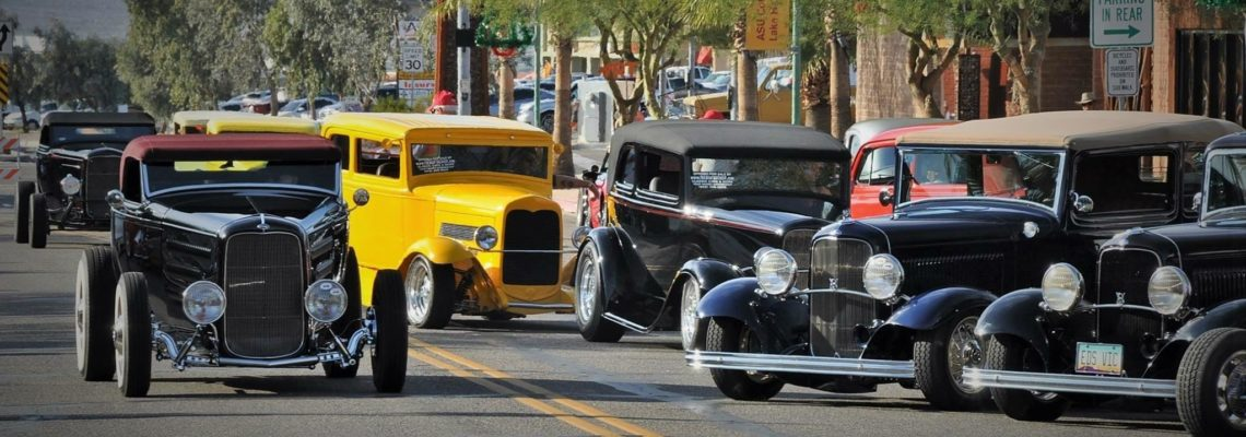 1932 Fords gather on McCulloch Blvd. in Lake Havasu City, AZ